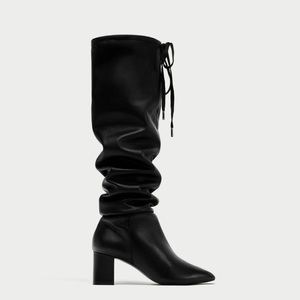 Zara Black Leather Knee Boots NWT